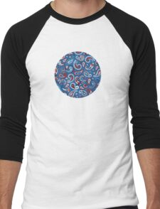 Blue Paisley Men's Baseball ¾ T-Shirt