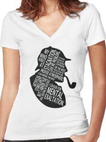 sherlock holmes gaphic art Women's Fitted V-Neck T-Shirt