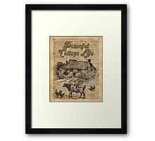 Peaceful Cottage Life Vintage Dictionary Art Framed Print