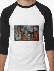 Orange and Blue Painting Diptych Men's Baseball ¾ T-Shirt