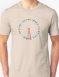 London Eye Ferris Wheel in Hand-Painted Watercolors of Union Jack UK Flag T-Shirt