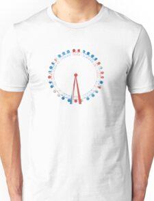 London Eye Ferris Wheel in Hand-Painted Watercolors of Union Jack UK Flag Unisex T-Shirt