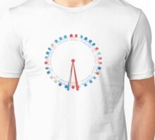 London Eye Ferris Wheel in Hand-Painted Watercolors of Union Jack UK Flag Unisex T-Shirt