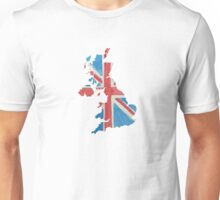 United Kingdom Country Outline in UK Flag Colors Red, White and Blue Unisex T-Shirt