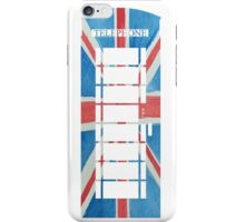 UK Phone Booth Box in Union Jack Flag Watercolors Red, White and Blue iPhone Case/Skin