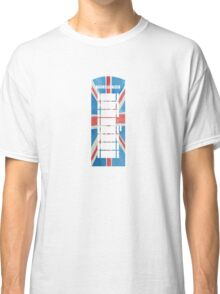 UK Phone Booth Box in Union Jack Flag Watercolors Red, White and Blue Classic T-Shirt