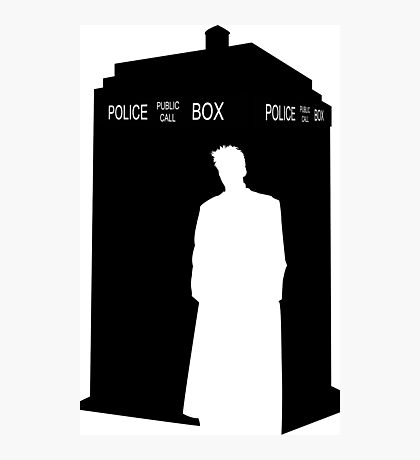 Minimalist TARDIS & 10th Doctor / David Tennant Photographic Print