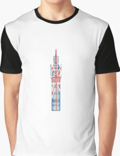 Big Ben in London Hand-Painted in UK Flag Colors Red, White and Blue Graphic T-Shirt