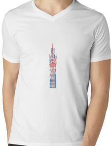 Big Ben in London Hand-Painted in UK Flag Colors Red, White and Blue Mens V-Neck T-Shirt