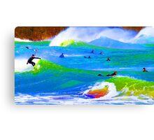 80'S Surf Style -  Beach Break Blues Canvas Print