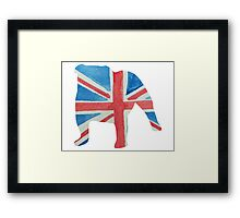 English Bulldog in UK Flag Water Colors Red, White and Blue Framed Print