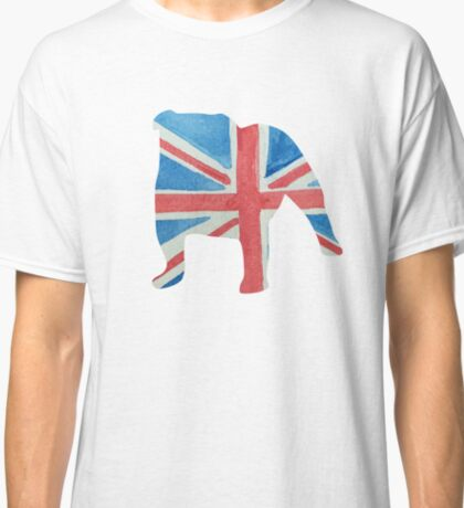 English Bulldog in UK Flag Water Colors Red, White and Blue Classic T-Shirt
