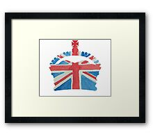 British Royal Coronation Crown in UK Flag Water Colors Red, White and Blue  Framed Print
