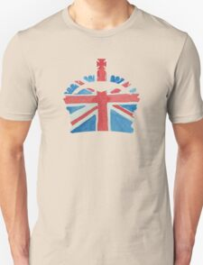 British Royal Coronation Crown in UK Flag Water Colors Red, White and Blue  T-Shirt