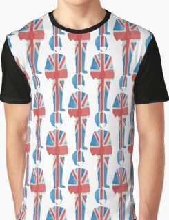 British Palace Guard in Union Jack Flag Watercolors of Red, White and Blue Graphic T-Shirt