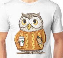 Small cute owl with coffee and candy Unisex T-Shirt