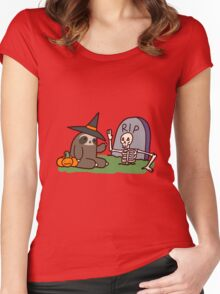 Sloth and Spooky Skeleton Women's Fitted Scoop T-Shirt