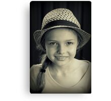 Girl With Hat Canvas Print