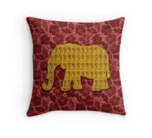 Yellow Mustard Floral Elephant on Red Velvet Floral  Throw Pillow