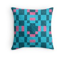 Teal Pink Pixel Pattern Throw Pillow