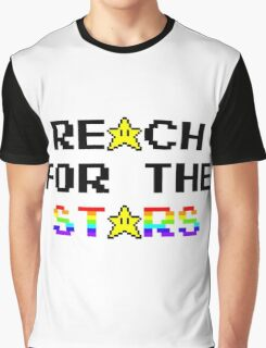 """""""Reach For The Stars"""" 8 Bit Parody Graphic T-Shirt"""