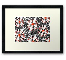 Ikat Modern Funky Abstract Charcoal Grey Orange Mix Pattern Framed Print