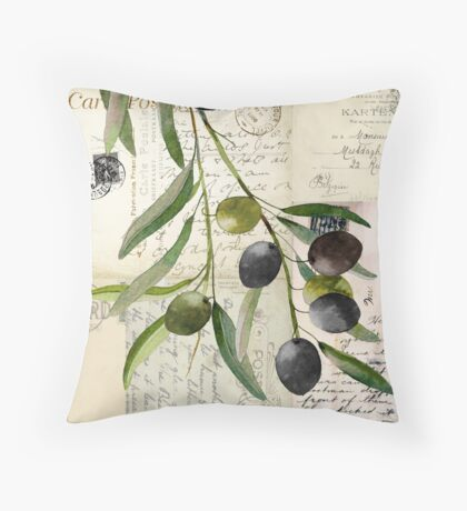 Olivia I Olive Branch Postcard Throw Pillow
