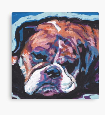 English BullDog Bright colorful pop dog art Canvas Print