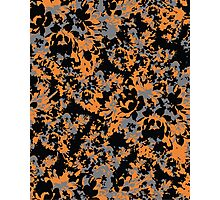 Orange and Black Abstract Floral Photographic Print