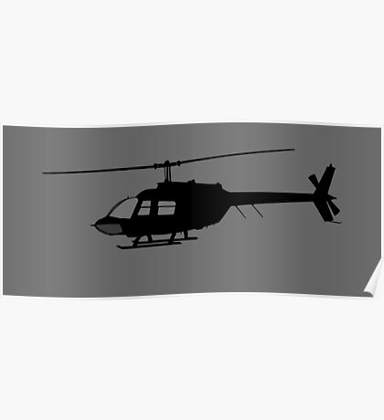 Urban Chopper Helicopter Silhouette Poster