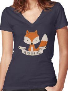 fox sake Women's Fitted V-Neck T-Shirt