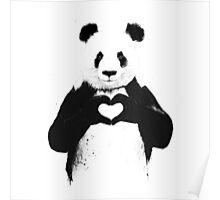 BW LOVING PANDA Poster