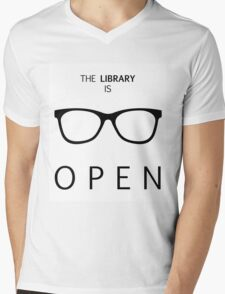 The Library is Open Mens V-Neck T-Shirt