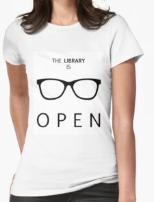 The Library is Open Womens Fitted T-Shirt