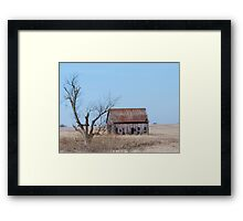 Old Barn and Old Tree In Field Framed Print