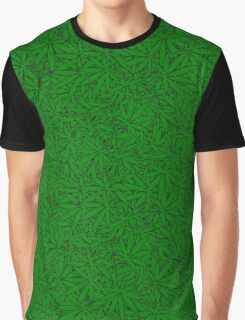 Weed Leaf Pattern Graphic T-Shirt