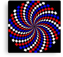 Red White Blue Checker Spiral Canvas Print
