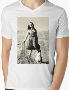 A girl and her dog. Mens V-Neck T-Shirt