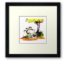 Calvin and Hobbs Playing Water Framed Print