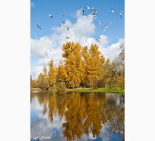Fall Colors, Clouds and Western Gulls, Reflected in a Pond Unisex T-Shirt