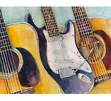 Washburn, Fender and Martin Watercolor Art Print - Music Lover - Accoustic Electric Photographic Print