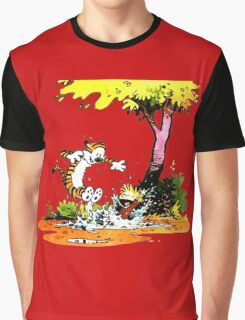 Calvin and Hobbs Playing Water Graphic T-Shirt