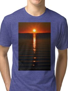 Seagull Floating On Sun-Glittered Nicolls Bay Water Surface | Great River, New York Tri-blend T-Shirt