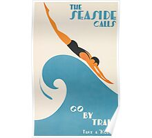 The Seaside Calls, Australia Vintage Travel Poster Poster