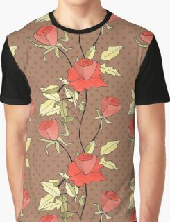 Retro floral red coral roses pattern, digital print retro Graphic T-Shirt