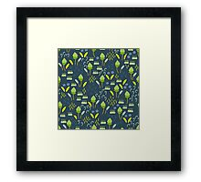 Forest Song - Blue Green Flower Drawing Pattern Framed Print