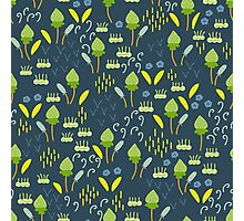 Forest Song - Blue Green Flower Drawing Pattern Photographic Print