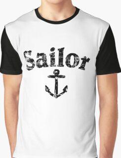 Sailor Anchor Vintage Sailing Design (Black) Graphic T-Shirt