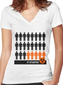 It started (Pandemic) Women's Fitted V-Neck T-Shirt