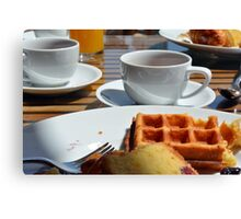 Breakfast with waffle, tea and orange juice.  Canvas Print